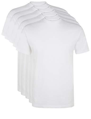 Ultrasport Herren Sport Freizeit T-Shirt mit Rundhalsausschnitt 5er Set, Weiß, L