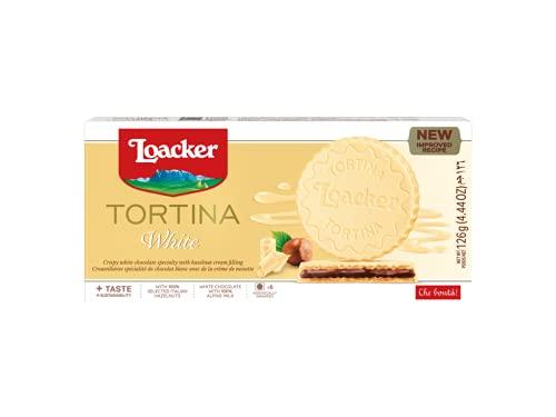 Loacker - Gran Pasticceria Tortina White - Mit weißer Schokolade überzogene Waffeln mit einer Haselnuss-Creme-Füllung aus 100 % italienischen Haselnüssen - Essen und Snacks - Verpackung enthält 125