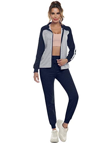 Doaraha Damen Trainingsanzüge Elegant Jogginganzug Streifen Sportanzug Mode Outfit Hausanzug Tracksuit Trainingjacke+Hose für Sport und Freizeit, Navyblau-Grau, XL