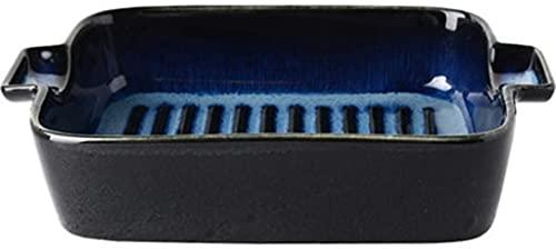 fenglei Müslischalen-Set Platte Risotto Teller Starry Rice Feld Keramik Western Teller Kreative Geschirr Backen Binaural Nudelofen Grillschale (Farbe: Blau, Größe: 18.6 * 14 * 5 cm) Nudelschal