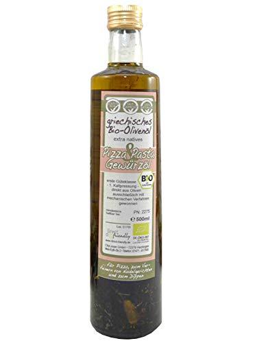 direct&friendly Bio Pizza und Pasta Griechisches Olivenöl mit Knoblauch Tomaten und Kräutern (500 ml)