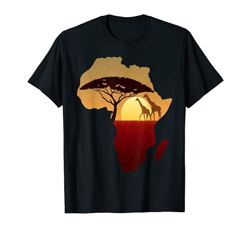 Afrika T-Shirt Giraffe Karte Dad South Tiere Big Five Safari