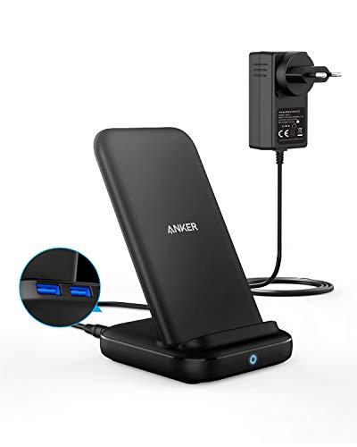Anker Wireless Charger,PowerWave 10 Ladeständer, Qi-zertifizierter 3-in-1 Ladeständer,7.5 für iPhone XS Max/XR/XS/X,10W für Galaxy S10/S10+/S9/S9+,5W für alle Qi-fähigen Smartphones,Netzteil inklusive