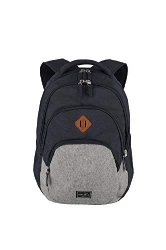 Gepäck Serie BASICS Daypack Melange: Modischer travelite Rucksack in Melange Optik, Handgepäck Rucksack mit Laptop Fach 15,6 Zoll, 096308-20, 45 cm, 22 Liter, marine/grau