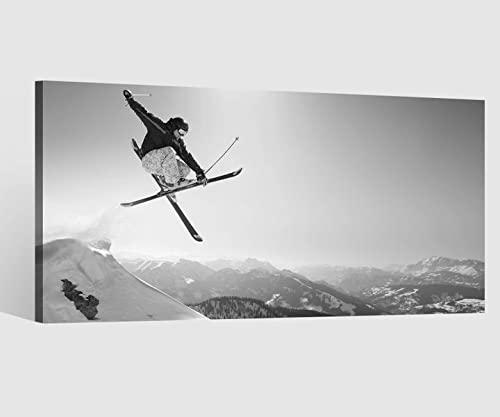 Leinwandbilder schwarz Skifahrer Ski Sport Schnee Alpen Berg Sprung Leinwand Bild Leinwandbild Wandbild Holz 9BD784, Leinwand Größe 1:80x40cm