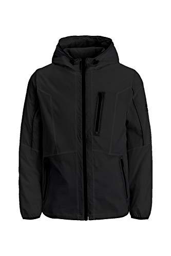 JACK & JONES Herren JCOCARSON Light Jacket Hood STS Übergangsjacke, Black/Print:JACKJONES, M