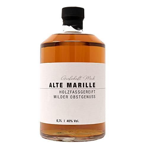 Grafschaft Mark Alte Marille Schnaps 1 x 0,7 L   40% vol. Alkohol   milder Obstbrand, im Holzfass gelagert  mit voll fruchtigem Aroma von Aprikosen   hochwertiger Obstl