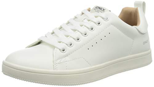 ONLY Damen ONLSHILO PU NOOS Sneaker, White, 37 EU
