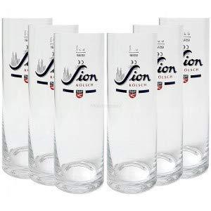 Sion Kölsch Bier Glas Gläser Set - 6X Gläser 0,4l geeicht Altbierglas Pils Stangenglas Kölschglas Sta