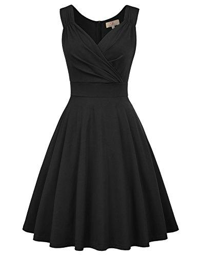GRACE KARIN schwarz Kleid 1950er Kleider Rockabilly Vintage Kleid Weihnachten cocktailkleid CL698-1 2XL