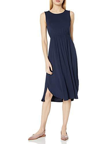 Amazon-Marke: Daily Ritual, Jersey-Damenkleid, ärmellos, gerafft, Navy, US L (EU L - XL)