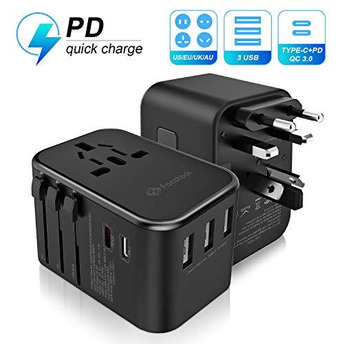 Reiseadapter Reisestecker Weltweit, Fansteck Universal Travel Adapter mit 18W PD Fast Charge für iPhone 11 Pro + 3 USB Ports + QC3.0 USB-C, Steckdosenadapter für USA Europa England Australien Kanada