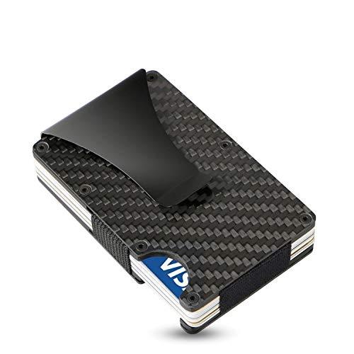SEMLIMIT Premium Kreditkartenetui Carbon - Geldklammer NFC & RFID Schutz - Geldbörse Herren 1 bis 15 Kreditkarten | Gratis E-Book, Schwarz/Gra