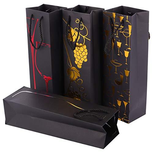 Cabilock 16 Stück Wein Geschenkbeutel mit Griffen Metallic Papier Champagner Tasche Papierflasche Träger Einkaufstasche für Jubiläum Geburtstag Einweihungsfeier Weihnachtsessen Party
