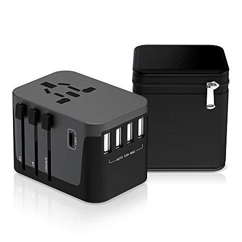 Reiseadapter MustWin Universal Reisestecker 5,6A Travel Adapter Weltweit mit 4 USB +Type C +AC Steckdosen +Doppelsicherung +Tasche für Internationale 224+ Länder Europa UK USA Australien China US