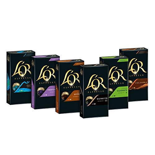 L'OR Kaffeekapseln, Probierbox mit 6 Sorten, 60 Nespresso®* kompatible Kapseln, 6 x 10 Getränk