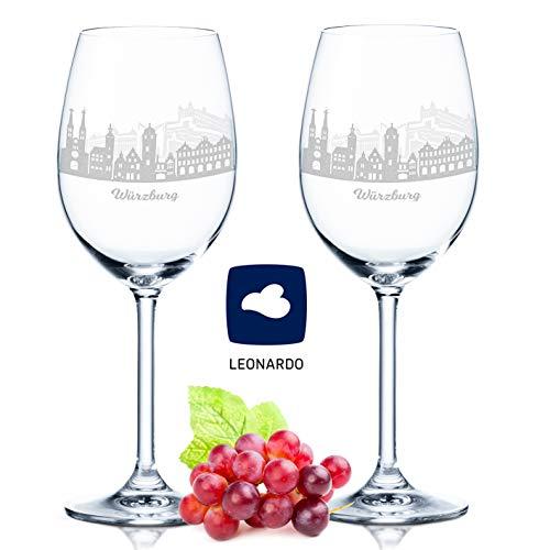 Leonardo Weinglas mit Gravur - Würzburg Geschenk im 2er Set - Weingeschenk - Souvenir Andenken & Mitbringsel - Geburtstagsgeschenk für Sie & Ih