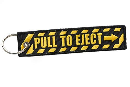 Schlüsselband Pull to Eject, schwarz gelb Schlüsselanhänger in Signalfarben für Vielflieger, Stewardessen und weitere!
