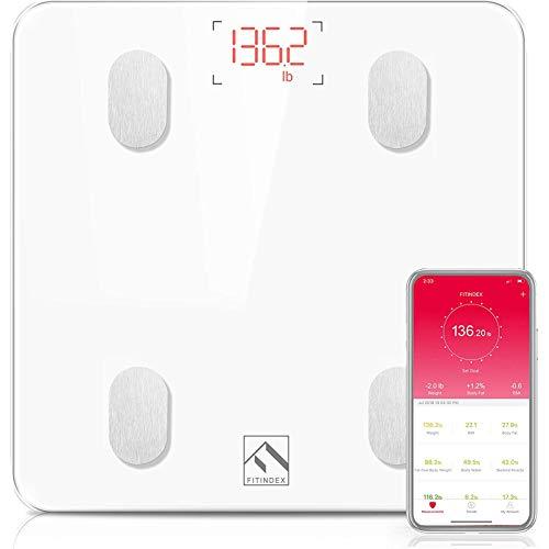 Körperfettwaage, FITINDEX Bluetooth Personenwaage mit App, Smart Digitale Waage für Körperfett, BMI, Gewicht, Muskelmasse, Wasser, Protein der Körperzusammensetzung für Fitness, Weiß  - Werbung*