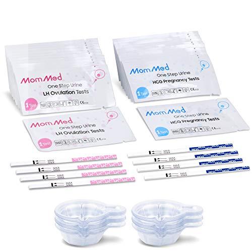 MOMMED Ovulationstest Kit HCG15-LH40, 15 Schwangerschaftstests und 40 Ovulationstests mit 55 Urinbechern Zuverlässiger und schneller Frühschwangerschaftstest