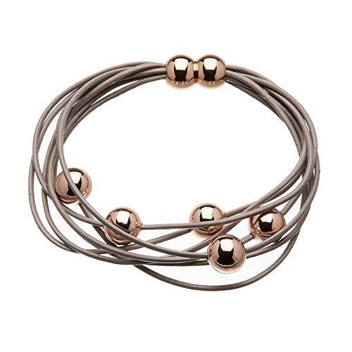 Armband mit Kaffee Ledersträngen und gleitenden roségold plattierte Perlen - Rita P von Bello Londo