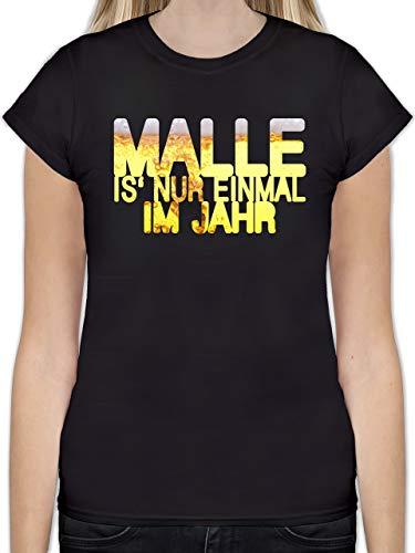 Urlaub - Malle is' nur einmal im Jahr Bier - M - Schwarz - L191 - Tailliertes Tshirt für Damen und Frauen T-Shirt