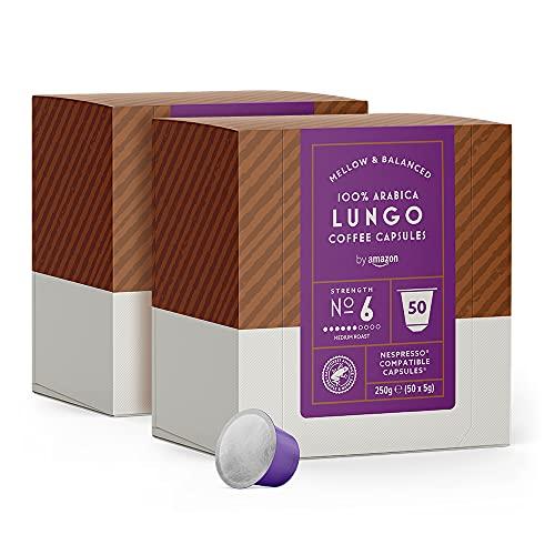 by Amazon Lungo-Kapseln, passend für Nespresso, 100Kapseln (2 x 50)