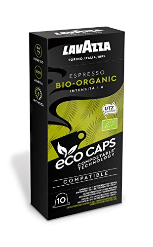 Lavazza Eco Kaffeekapseln - Espresso Bio Organic - Nespresso kompatibel - 50 Kapseln - 5er Pack (5 x 53g)