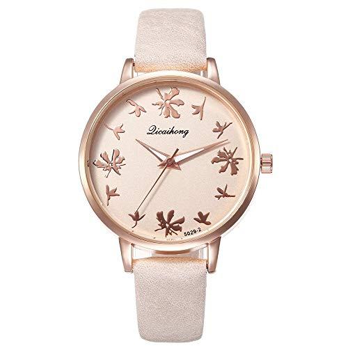 SSLA Luxus-Marken-Kleid Kreative Blumen-Skala Freizeit Uhren for Frauen Mode-Studenten Armbanduhr Damenuhr (Color : Beige)