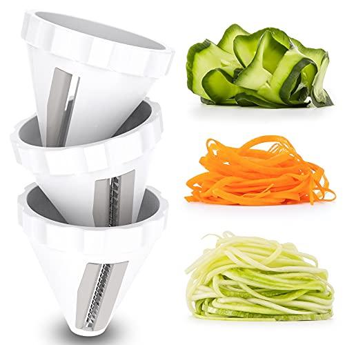 Spiralschneider Gemüse, 3 Set Zucchini Spaghetti Schneider, Zoodle Maker Gemüsehobel Schnelles Schneiden, Hand Gemüse Spiralschneid