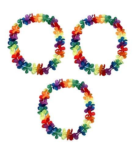 Sonnenscheinschuhe® 3 x Hawaii Blumenkette 96cm Halskette Fastnacht Sommer Party Deko Hawaiikette