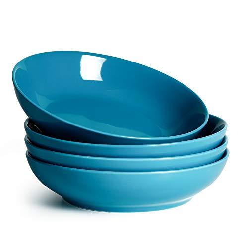 Sweese 113.107 Pastaschalen aus Porzellan, groß, 1,3 l, Stahlblau, 4 Stück