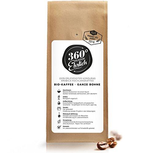 Premium Bio Kaffeebohnen preisgekrönt   Köstlich, sehr säurearm und sehr besonders von 360° rundum ehrlich   Ganze Bohnen   - ideal für Bulletproof Coffee I