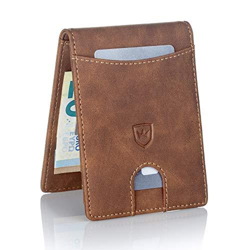 Kronenschein Premium Herren Portemonnaie Geldbeutel mit Geldklammer Portmonee Männer Geldbörse RFID Slim-Wallet Brieftasche Kreditkartenetui Kartenetui