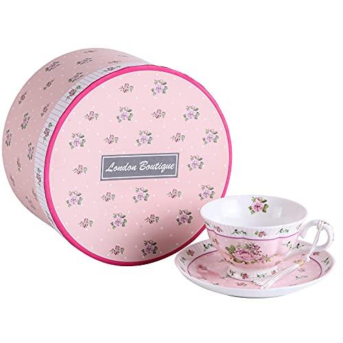London Boutique Kaffee und Tee-Tassen und Untertassen Set von 2 Vintage Flower Flora Rose Lavendel Geschenk-Box, Keramik, 1pc Set, 11x8cm (Shabby Chic Rose)
