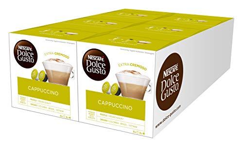 NESCAFÉ Dolce Gusto Cappuccino 96 Kaffeekapseln (Arabica und Robusta Bohnen, Vollmundiger Kaffee und lockerer Milchschaum, Aromaversiegelte Kapseln) 6er Pack (6 x 16 Kapseln)