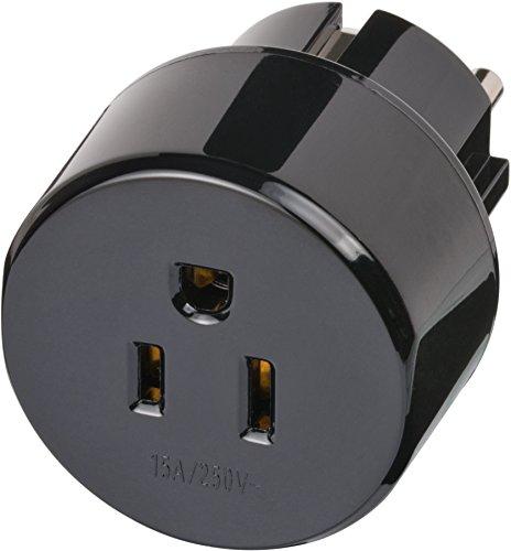 Brennenstuhl Reisestecker/Reiseadapter (Reise-Steckdosenadapter für: Schutzkontakt Steckdose und USA, Japan Stecker) schwarz