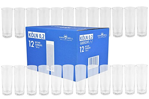 Van Well 24er Set Kölschgläser 0,2 Liter mit Eichstrich