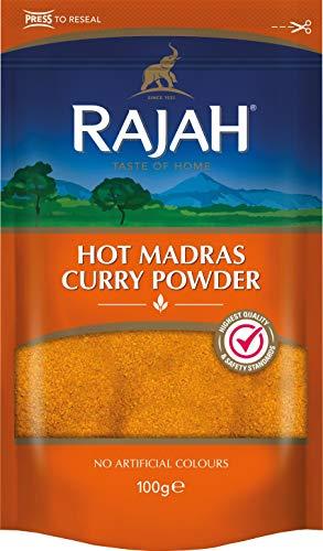 Rajah Hot Madras Currypulver – Aromatische Gewürzmischung mit intensiver Schärfe – 1 x 100