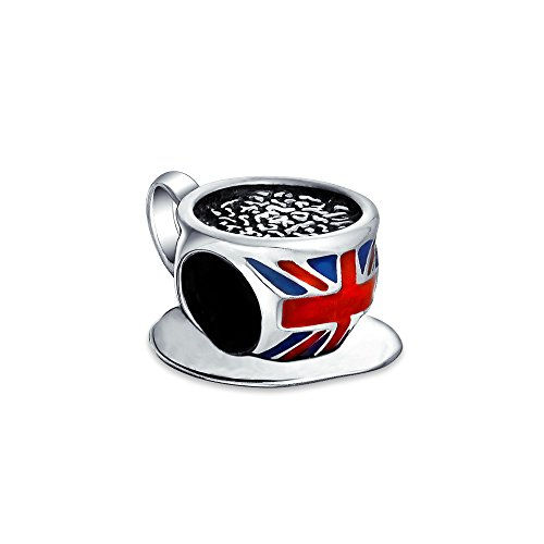 Reisen England Urlaub Britische Flagge Union Jack UK London Kaffee Tee Tasse Charm Perle für Frauen .925 Sterling Silber Fit Europäisches Armband