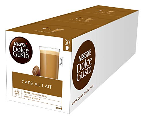 NESCAFÉ Dolce Gusto Café au Lait, XXL-Vorratsbox, 90 Kaffeekapseln, ausgewählte Robusta Bohnen, leichter Kaffeegenuss mit Cremigem Milchschaum, 3er Pack (3 x 30 Kapseln)