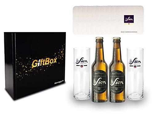 Sion Kölsch Set/Geschenkset - 2x Sion Kölsch 330ml (4,8% Vol) + 2x Sion Gläser + 10x Sion Bierdeckel - Inkl. Pfand MEHRWEG