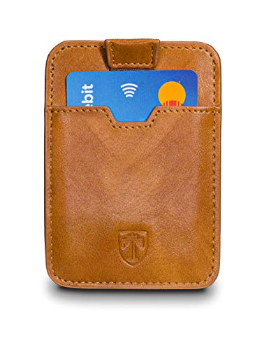 TRAVANDO Slim Portemonnaie Dallas - bis zu 12 Karten - TÜV geprüft - RFID Schutz - Kleiner Geldbeutel - Kartenetui - Kreditkartenetui - Zugband - Geschenk für Männer - Designed in Germany (Braun)