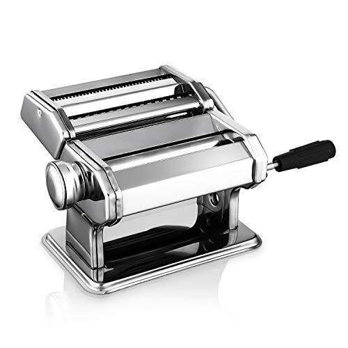 Nudelmaschine Pasta Maker Edelstahl Manuell Pastamaschine Einstellbar Nudel Walze Maschine mit Cutter für Frische Spaghetti Tagliatelle Fettuccine und Lasagne etc - 2 in 1 Küche Nudelmaschinen, Sil