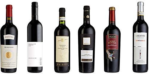 """Probierpaket """"Rotweinreise durch Italien""""  Weinpaket mit sechs verschiedenen italienischen Rotweinen (6 x 0,75 l )   Tolles Wein Tasting-Set"""