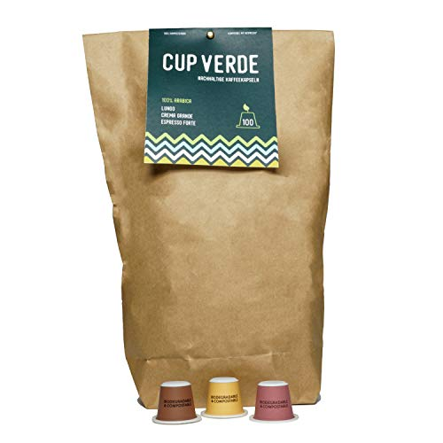 CUP VERDE – 100 nachhaltige Kaffeekapseln Nespresso* kompatibel. Biologisch abbaubar– fair gehandelt - schonend geröstet Mixpaket Lungo, Crema Grande, Espresso Fort