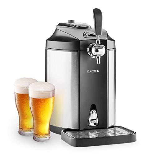 Klarstein Skal - universelle Bierzapfanlage, Zapfanlage mit integriertem Bierkühler, Kühlung auf 2-12 °C, Bierzapfanlage 5 liter mit Kühlung. thermoelektrisches Kühlsystem, 38 dB, grausil