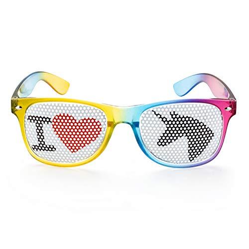 seven9 Einhornbrille I Love Einhorn Spaßbrille, Partybrille für den Ballermann oder jedes Einhornkostüm, Karnevalsbrille für Damen und Herren, Brille für das perfekte Festival oder Mall