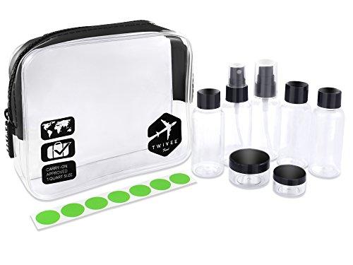TWIVEE - Transparenter Kulturbeutel mit Reiseflaschenset - 1 Liter - Transparent-Schwarz - Unisex