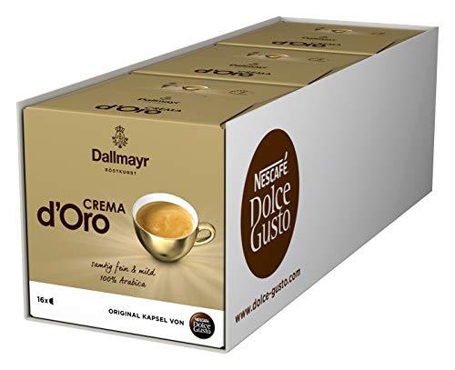 NESCAFÉ Dolce Gusto Dallmayr Crema d'Oro   48 Kaffeekapseln   100% Arabica-Bohnen   Feine Crema und vollmundiges Aroma   Schnelle Zubereitung   Aromaversiegelte Kapseln   3er Pack (3 x 16 Kapseln)